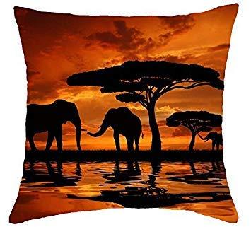 Penelope Savane africaine Coucher de Soleil Sous la Girafe Motif famille éléphant en Coton et lin Housses de Coussin 45?cm x 45?cm Taie doreiller 18?x 18?Coussin Oreiller Pour canapé Salon B 654292
