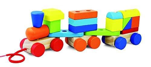 May & Z Stacking Train - Pull Toys with Lacing Blocks for Educational Toddlers (19PCS) -