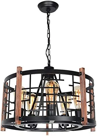 Baiwaiz Round Wood Rustic Chandelier, Black Farmhouse Pendant Light Fixture Industrial Metal Cage Chandelier 5 Lights Edison E26 082