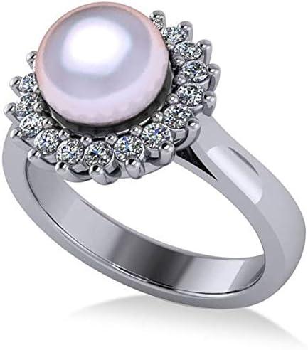 Anillo de compromiso con halo de perlas y diamantes en oro blanco de 14 k 8 mm (0,36ct), anillo de compromiso de oro para siempre, anillo de bodas, anillo de compromiso con oro