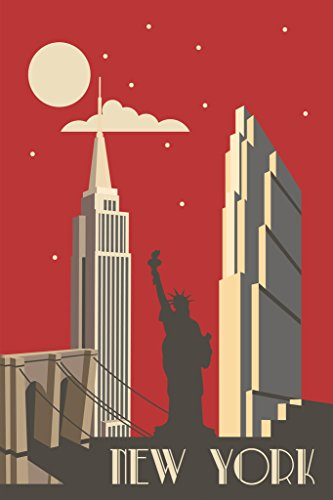 New York City NYC Big Apple Retro Art Deco Travel Art Print Poster 12x18 inch ()