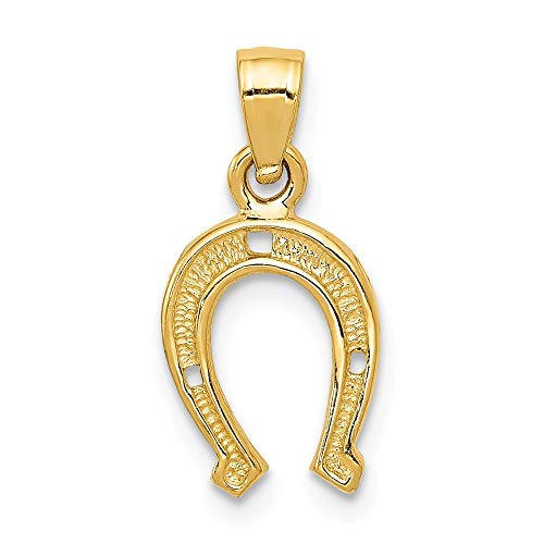 - 14k Yellow Gold Horseshoe Pendant Charm Necklace Good Luck Italian Horn Animal Horse Fine Jewelry Gifts For Women For Her