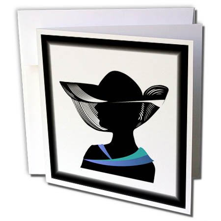 3dRose Art Deco - Image of Silhouette of Lady in Hat in Black with Blue Collar - 12 Greeting Cards with Envelopes (Art Deco Silhouette)