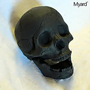 Myard DELUXE Log - Imitated Human Skull Fire Gas Log for Natural Gas / Liquid Propane / Wood Fire Fireplace & Fire Pit (Black, 1pk)