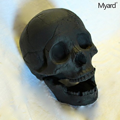 [Myard DELUXE Log - Imitated Human Skull Fire Gas Log for Natural Gas / Liquid Propane / Wood Fire Fireplace & Fire Pit Halloween (Black,] (Log Costume)