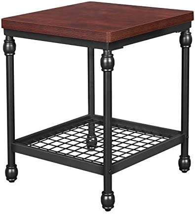 VASAGLE Industrial End Table, 2-Tier Side Table for Small Spaces, Nightstand with Storage Shelf, Sturdy, Easy Assembly, Cherry Finish ULET52BR