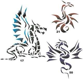 amazon com airbrush temporary tattoo stencil template set 30 dragon