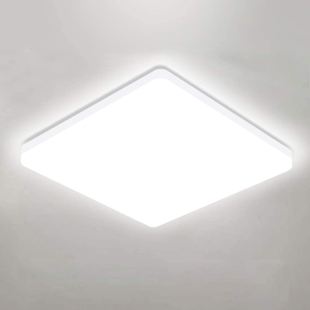 OOWOLF 25W 5000K LED Ceiling Light 11.81in Square LED Ceiling Lamp Fixture Without Flicker, 85Ra+ Daylight White for Bathroom,Kitchen,Closet,Bedroom,Living Room,Hallway,Office