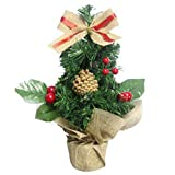 Inkach Mini Christmas Tree Tabletop Xmas Tree Ornaments Home Office Desk Decorations (Red)
