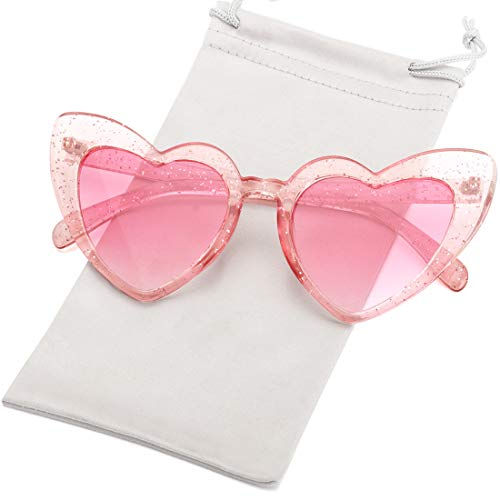 Heart Shaped Sunglasses for Women Girls Ladies Vintage Goggle Mod Sun Glasses Shades (Clear Glitter Frame/Pink Gradient -