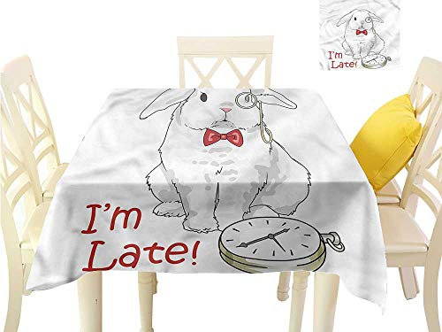 WilliamsDecor Small Tablecloth Alice in Wonderland,Cartoon Rabbit Dining Table Cover W 50