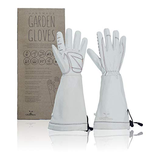Leather Gardening Gloves for Women and Men | LilGardens | Thorn Proof | Rose Pruning | Long Gauntlet | True Puncture Resistant| Padded Palms | Perfect Present | Large
