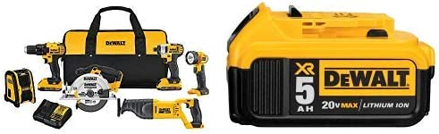 DEWALT DCK620D2 20V MA Compact 6-Tool Combo Kit with DCB205 20V MAX XR 5.0Ah Lithium Ion Battery-Pack
