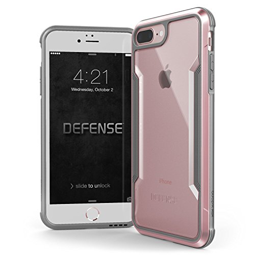 iPhone 8 Plus & iPhone 7 Plus Case, X-Doria Defense Shield Series - Military Grade Drop Tested, Anodized Aluminum, TPU, and Polycarbonate Protective Case for Apple iPhone 8 Plus & 7 Plus (Rose Gold)