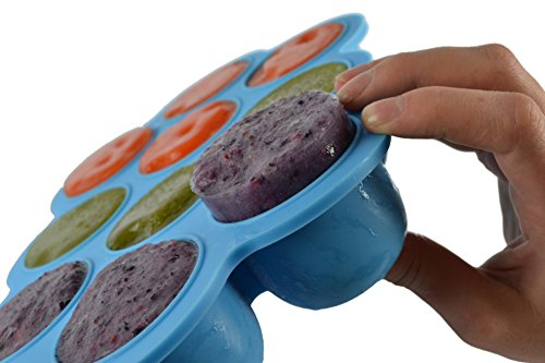 Baby Food Storage Containers   Made With Safe  Non Toxic Platinum Pure Silicone  Multipurpose Freezer Tray To Freeze Baby Food  Herbs  Ice Cubes  Etc    Bpa Free 100  Silicone   No Plastic  Blue