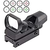 Red Dot Sight, Adjustable 4 Reticles Red Green Dot Gun Sight Scope Reflex Sights with Weaver-Picatinny Rail Mount 22mm Rail