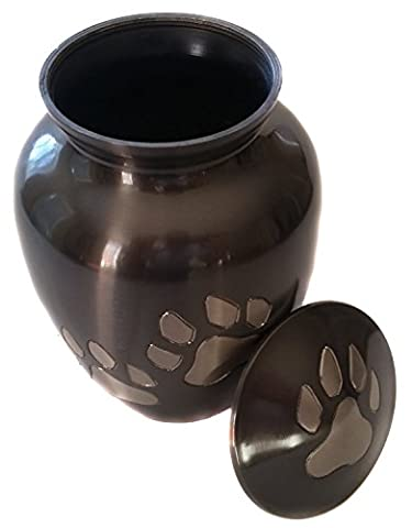 Tasteful Paw Print Pet Urn for Your Loving Dog or Cat Ashes Finished in a Strong Slate - Picture Paw Print