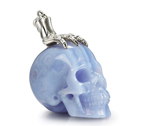 Skullis Blue Lace Agate Carved Crystal Skull and Silver Bones Pendant for Men and Women, Skull Jewelry.