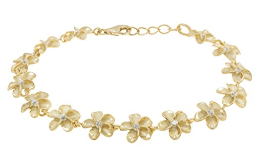 14k Yellow Gold Plated Sterling Silver Plumeria Bracelet with CZs - 10mm