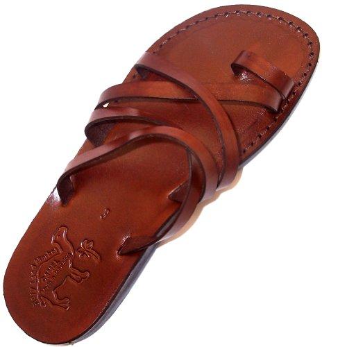 19f372ecbb74 Holy Land Market Unisex Leather Biblical Flip flops (Jesus - Yashua)  Bethlehem Style I
