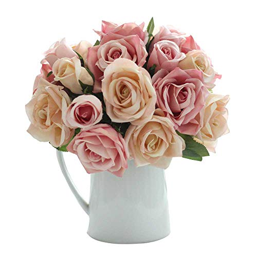 CQURE Artificial Fake Flowers Silk Artificial Roses 9 Heads Bridal Wedding Bouquet for Home Garden Party Wedding Decoration (Pink Champagne) ...