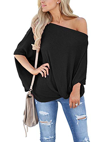 Womens Knot Front Off The Shoulder Tops Waffle Knit Batwing Sleeve Casual Loose Pullover Shirts Blouse Black Medium