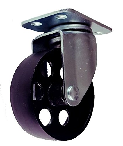 Cast Iron Swivel Plate Caster Wheels Heavy Duty 400lb Rated Capacity (3.5 Inch (Cast Iron Wheel Swivel Caster)