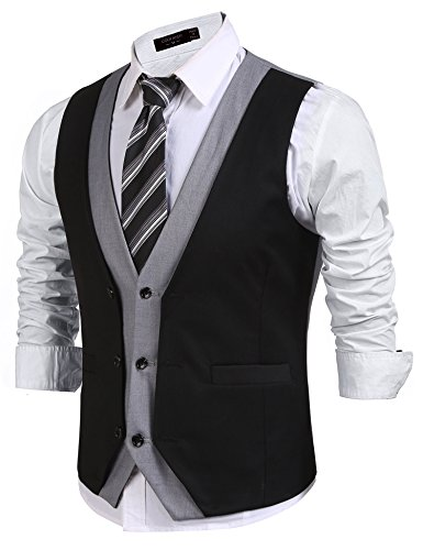 JINIDU Mens Layered V-Neck Patchwork Slim Fit Business Suit Vest Waistcoat ()