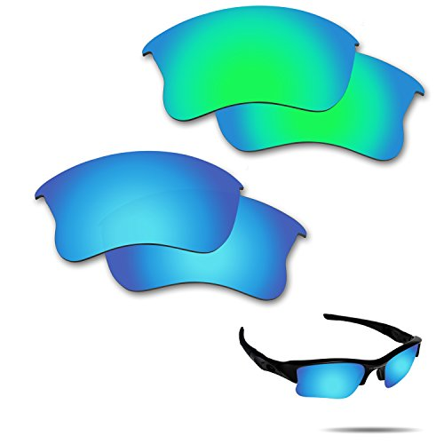 (Fiskr Anti-saltwater Polarized Replacement Lenses for Oakley Flak Jacket XLJ Sunglasses 2 Pairs Packed (Ice Blue & Emerald Green))