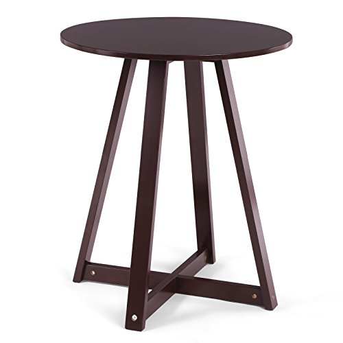 SONGMICS 19 Inch Round End Side Coffee Pedestal Table, Fully Painted Nightstand, Minimalist Plant Stand, Suitable For Living Room Nook, Mahogany Color ULET09BR ()