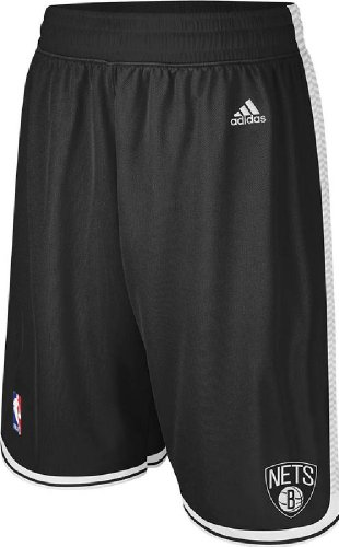 (Brooklyn Nets Black Embroidered Swingman Shorts By Adidas (Medium))
