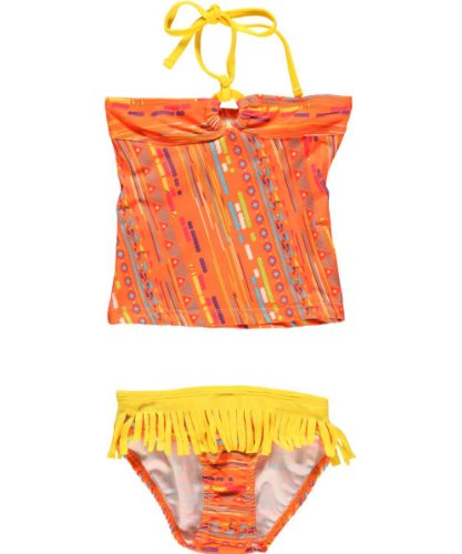 Pink Platinum Girls 7-16 Tassle Tankini, Orange, 14/16