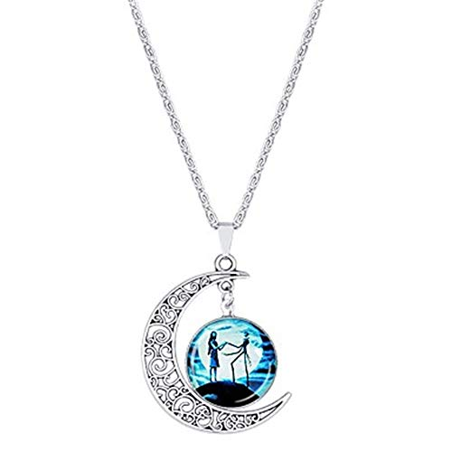 Women's Cartoon Pendant Necklace Silver Plated Crescent Moon Anime Cool Blue 42+5 cm Necklace Jewelry 1pc for Halloween Masquerade]()