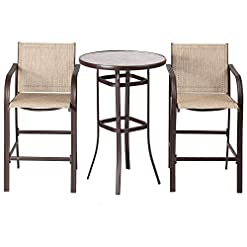 Garden and Outdoor JEROAL 3-Piece Outdoor Patio Bar Set, Garden Backyard Round Table and Chiair Set, Outdoor Dining Chairs Set patio dining sets