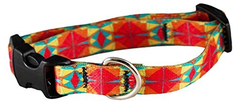 Recycled Kaleidoscope - Cycle Dog Recycled Kaleidoscope Dog Collar, Small, 15-30 cm, Red/Orange