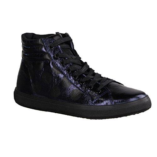 Cafè Noir Donna Sneaker in laminato fantasia pois, EK810, BLU, 40