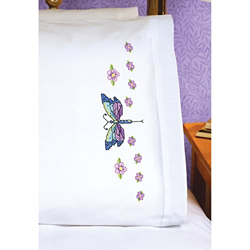 (Janlynn Dragonfly Pillowcase Pair Stamped Cross Stitch, 20 by 30-Inch )