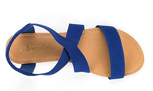 Paires De Rêve Femmes Elatica Élastique Cheville Sangle Sandales Plates Royal Blue