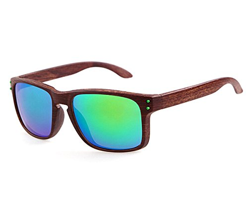 Heartisan Vintage Imitation Wood Frame UV400 Flash Mirror Sunglasses - Sunglasses Deal Canada