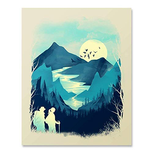 Trekking Hand Art - National Park Wilderness Hiking Art Print Outdoor Inspiration Trekking Backpacking Pacific Northwest Nature Forest Trees Mountain Lake Reflection Wall Art Home Decor 8 x 10 Inches