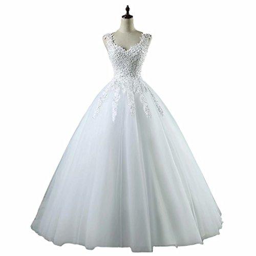 Dexinyuan Women's Lace Applique Wedding Dresses V Neck Beading Bridal Ball ()