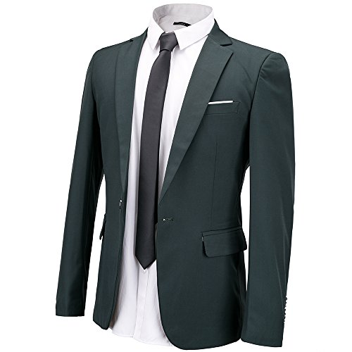 FLY HAWK Men's Suit Jacket Blazer Notched Lapel Slim Fit One Button Stylish Dinner Jacket Tuxedo US 42R Dark Green