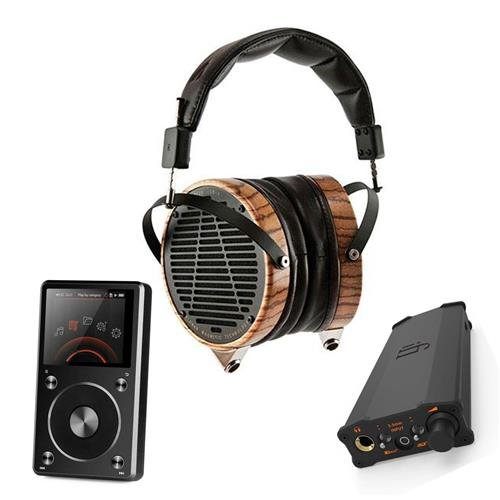 Audeze LCD-3 High-Performance Planar Magnetic Headphones with Travel Case, Zebrano and Lambskin Leather - Bundle with iFi micro iDSD Black Label Edition, FiiO X5 2nd Gen High Res Music Player, Black by Audeze