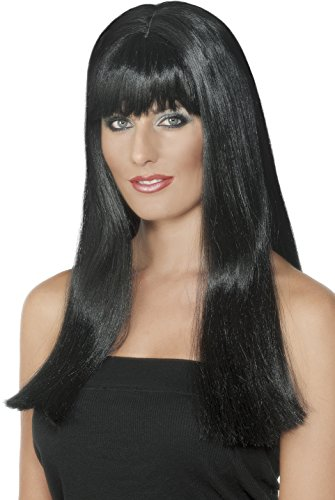 Smiffy's Women's Long Black Wig with Bangs and Centre Faux Skin Part, One Size, Mystique Wig, (Mystique Costume For Sale)
