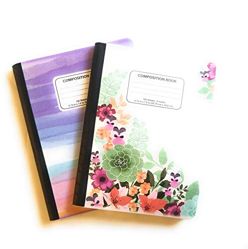 Set of 2 Composition Notebooks - Watercolor Rainbow & Floral Garden