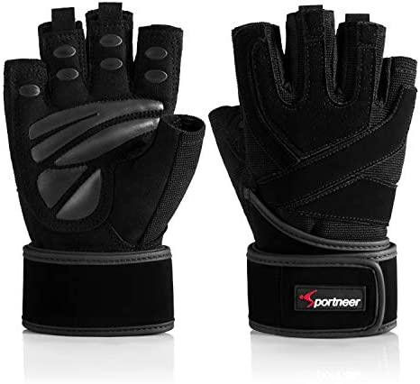 """Padded Weight Lifting Gloves, Gym Gloves, Workout Gloves with Built-in 19"""" Wrist Wraps, Exercise Gloves for Cross Training, Pull Ups, Fitness, Powerlifting"""
