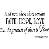 Faith Hope Love Corinthians Wall Quote Decal Scripture Bible Verse Quotes Vinyl