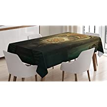 Ambesonne Gothic House Decor Tablecloth, Medieval Secret Passage with Torch and Golden Clock on Wall Mystery in Temple Print, Rectangular Table Cover for Dining Room Kitchen, 60x90 Inches, Grey Teal
