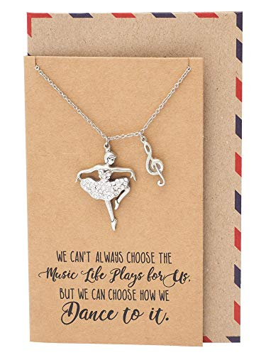 Quan Jewelry Birthday Gifts for Women Ballerina and Music Note Pendant Necklace with Inspirational Quotes on Greeting Card