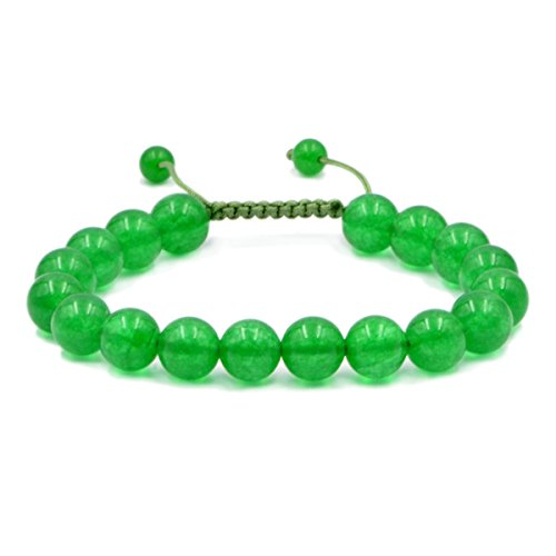 AD Beads Natural 10mm Gemstone Bracelets Healing Power Crystal Macrame Adjustable 7-9 Inch (Green -